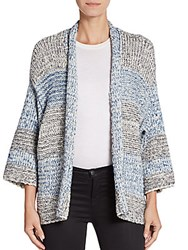 Vince Striped Marled Knit Cardigan Blue Multi