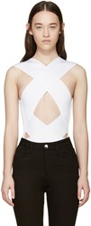 Balmain White Rib Knit Criss Cross Bodysuit