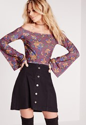 Missguided Floral Print Bell Sleeve Bardot Crop Top Purple