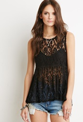 Forever 21 Floral Lace Babydoll Top Black