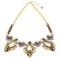 Niino Jewelry Green Victorian Statement Bib Necklace Multi