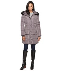 Jessica Simpson Long Puffer W Waist Detail Hood And Faux Fur Charcoal Women's Coat Gray