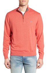 Vineyard Vines Men's Quarter Zip Sweater Tomato Check