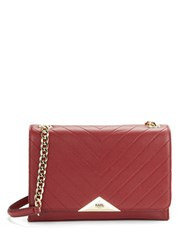 Karl Lagerfeld Gigi Pebbled Leather Shoulder Bag Bordeaux