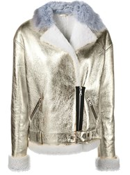 Sandy Liang 'Gold Bowery' Biker Jacket Metallic