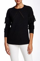 Twelfth St. By Cynthia Vincent Fringe Sleeve Pullover Black