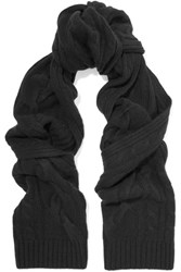 N.Peal Cashmere Cable Knit Cashmere Scarf Black