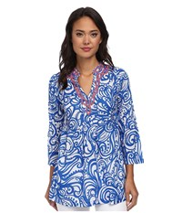 Lilly Pulitzer Sarasota Tunic Resort White Current Affairs Women's Blouse Blue