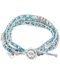 Lonna And Lilly Silver Tone And White Cord Blue Bead Wrap Bracelet
