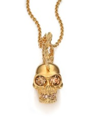 Alexander Mcqueen Skull Punk Fish Pendant Necklace Goldtone