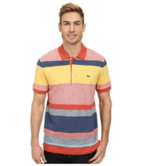 Lacoste Slubbed Jersey Bold Stripe Polo Fall Orange Multico Men's Short Sleeve Pullover