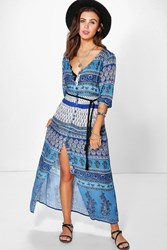 Boohoo Katie Paisley Button Down Maxi Dress Blue