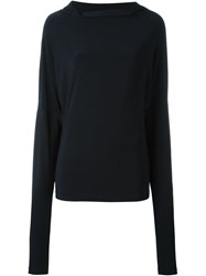 Norma Kamali Cowl Neck Top Blue