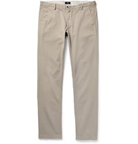 Hugo Boss Slim Fit Overdyed Stretch Cotton Gabardine Trousers Neutrals