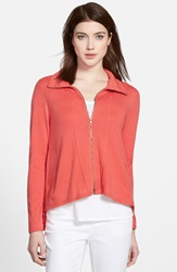 Eileen Fisher High Collar Zip Cardigan Online Only Pink Grapefruit