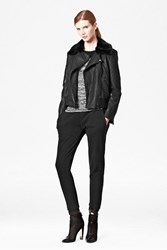 French Connection Fast Jet Faux Fur Collar Quilted Jacket Black