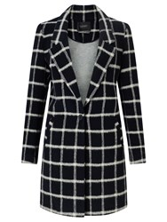 Maison Scotch Bonded Wool Check Coat Navy