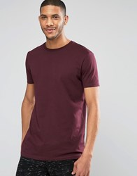 Asos Longline T Shirt In Relaxed Skater Fit In Oxblood Oxblood Red
