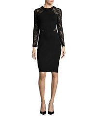 French Connection Viven Lace Inset Bodycon Dress Black