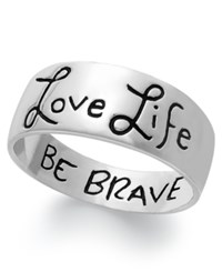 Macy's Love Life Be Brave Engraved Ring Sterling Silver