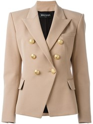 Balmain Double Breasted Blazer Nude And Neutrals