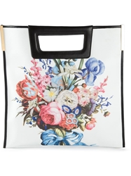 Emanuel Ungaro Flower Bouquet And Zebra Print Tote White