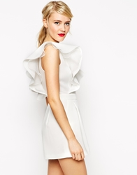 Asos Playsuit With Ruffle And Sheer Inserts White