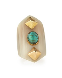 Ashley Pittman Mwamba Horn Ring With Turquoise