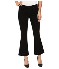 Hudson Mia Mid Rise Five Pocket Crop Flare Jeans W Raw Hem Black Women's Jeans