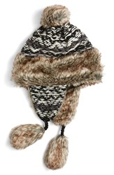 Nirvanna Designs Women's Opposite Pattern Earflap Hat With Faux Fur Trim