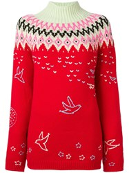 Nina Ricci Roll Neck Zig Zag Sweater Red