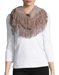 Joolay Fringe Trimmed Infinity Loop Scarf Taupe