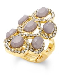 Inc International Concepts Gold Tone Gray Crystal Statement Stretch Ring Only At Macy's