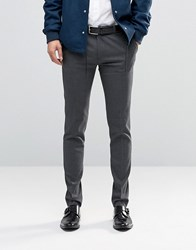 Asos Super Skinny Smart Trousers In Charcoal Charcoal Grey