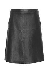 Hallhuber A Line Skirt Made Of Nappa Leather Black