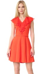 Giambattista Valli Sleeveless Dress With Ruffles Persimmon