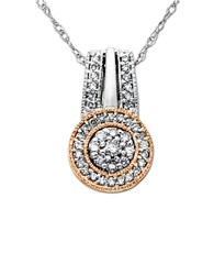 Lord And Taylor Diamond Sterling Silver 14K Yellow Gold Pendant Necklace Two Tone