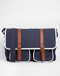 Asos Satchel With Leather Look Straps Navy