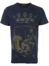 Etro Crown Print T Shirt Blue