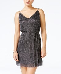 As U Wish Juniors' Metallic Crinkled A Line Dress Silver