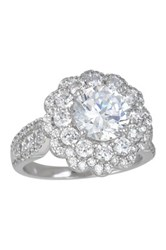 Luna Tagliare Sterling Silver Round Cz Cluster Engagement Ring Metallic