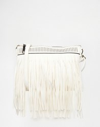 Liquorish Fringe Cross Body Bag White