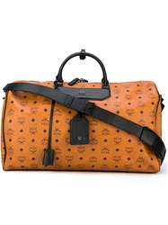 Mcm Logo Print Holdall Nude And Neutrals
