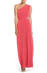 Women's Ellen Tracy Embellished Jersey Fit And Flare Gown Melon