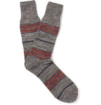 Anonymous Ism Blanket Striped Melange Knitted Socks Gray