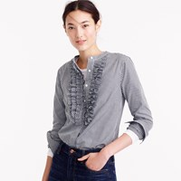 J.Crew Collection Thomas Mason For Gingham Ruffle Front Shirt