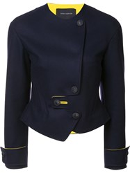 Cedric Charlier Dislocated Fastening Fitted Jacket Blue
