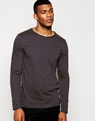River Island Long Sleeve Navy And Mustard Striped Top