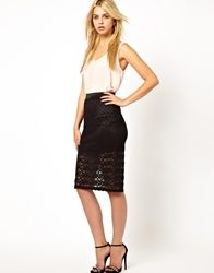 Mina Lace Pencil Skirt Black