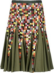 Sacai Embroidered Knee High Skirt Green